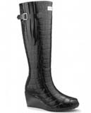 Black wedge wellies