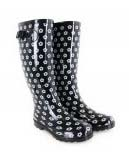 Black and white daisy wellies