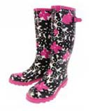 Black and pink floral wellies