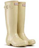 Ladies white gloss hunter wellies