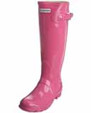 Ladies pink gloss hunter wellies